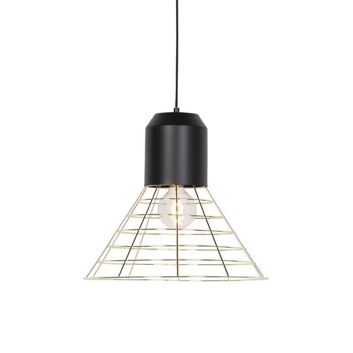 Lámpara-colgante-industrial-negra-marco-latón-45cm---FAUSA
