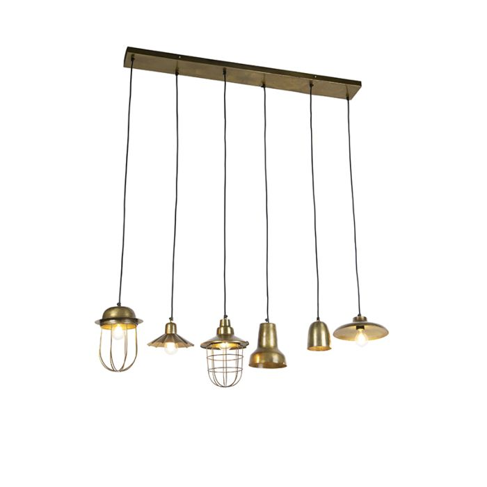 Lámpara-colgante-vintage-placa-redonda-bronce-6-luces---MIXO