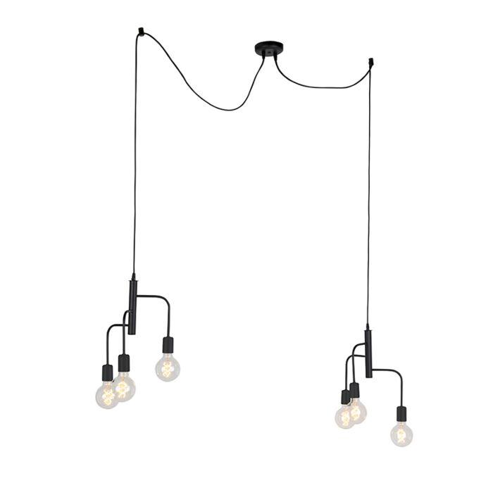 Lámpara-colgante-moderna-negra-2x3-luces---FACILE