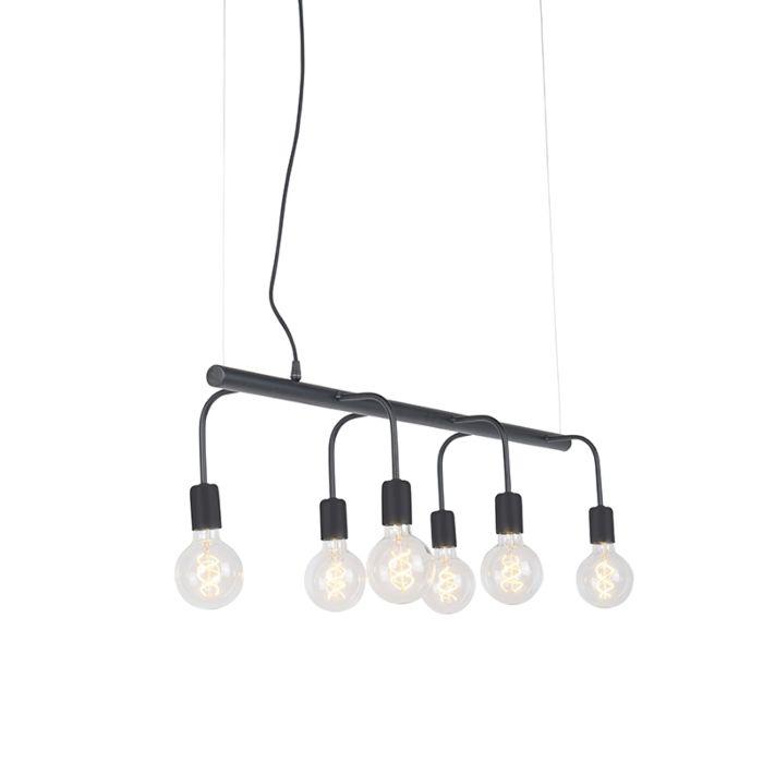 Lámpara-colgante-moderna-negra-6-luces---FACILE