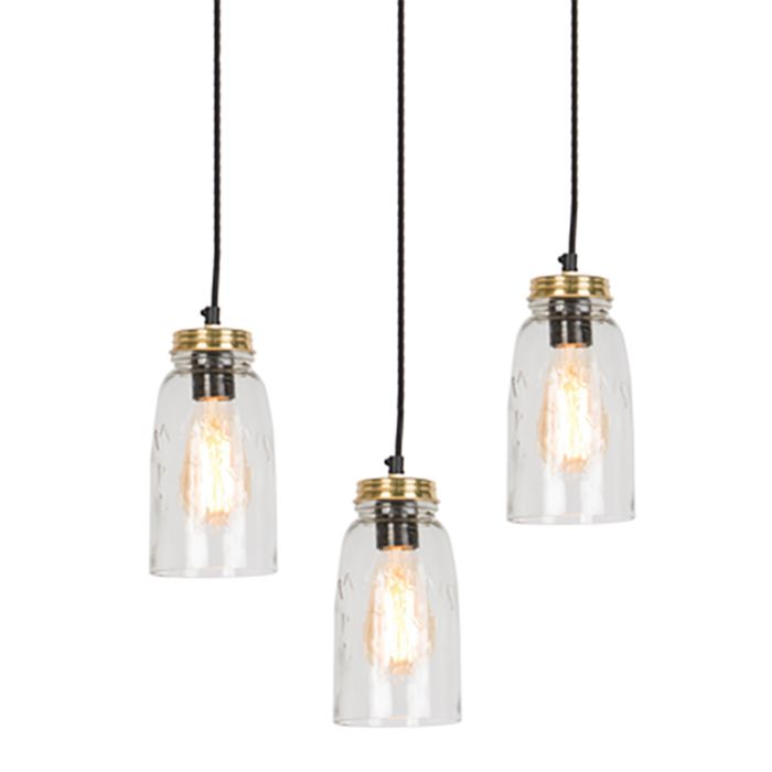 Set-de-3-lámparas-colgantes-vintage-oro-con-cristal-transparente---MASONS