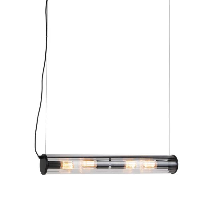 Lámpara-colgante-negra-de-4-luces-con-cristal-acanalado---Costilla