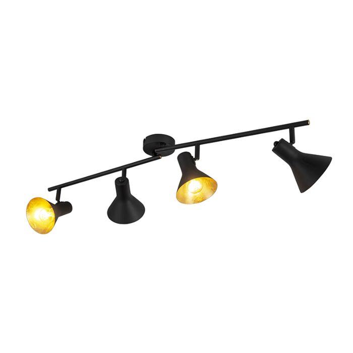 Plafón-moderno-negro--oro-4-luces---MAGNO