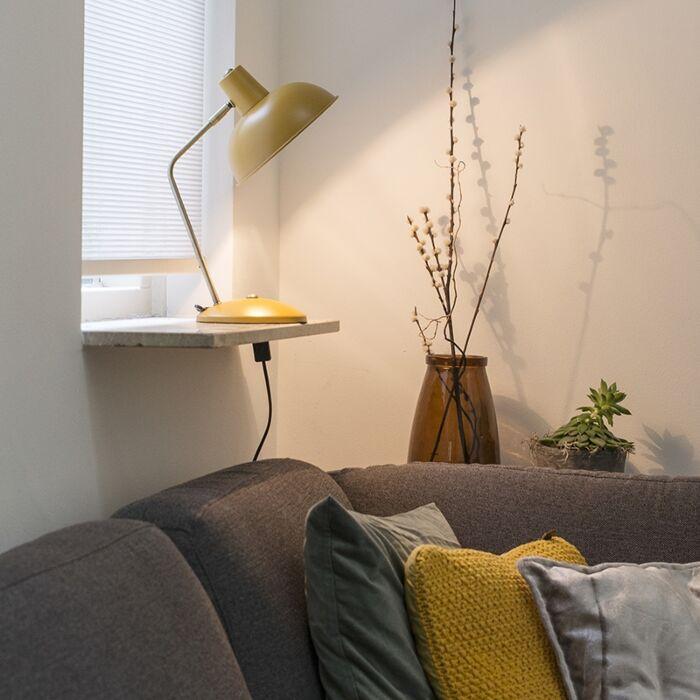 Lámpara-de-mesa-retro-amarilla/bronce---MILOU
