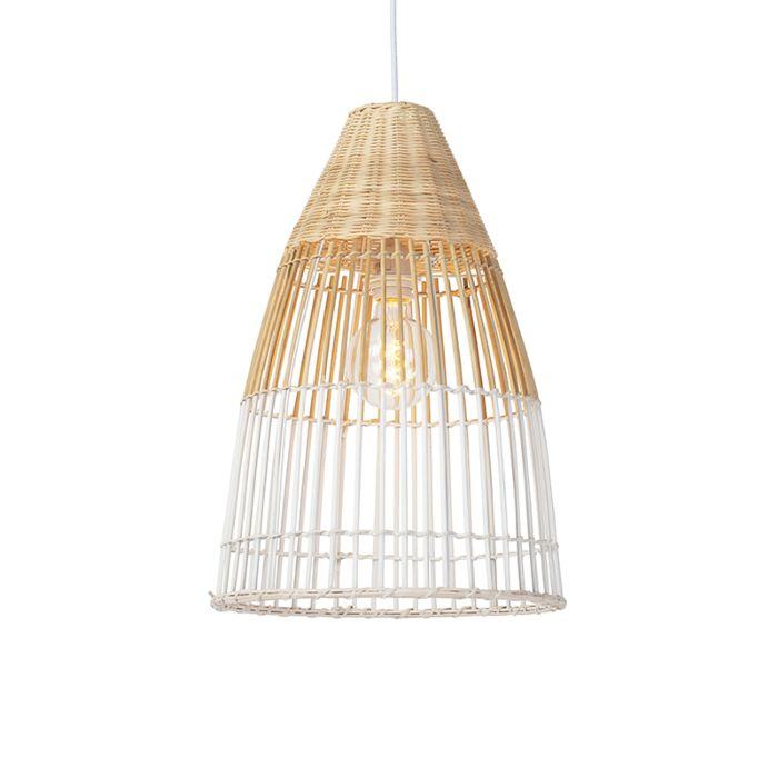 Lámpara-colgante-Art-Déco-bambú-con-blanco---BAMBOO