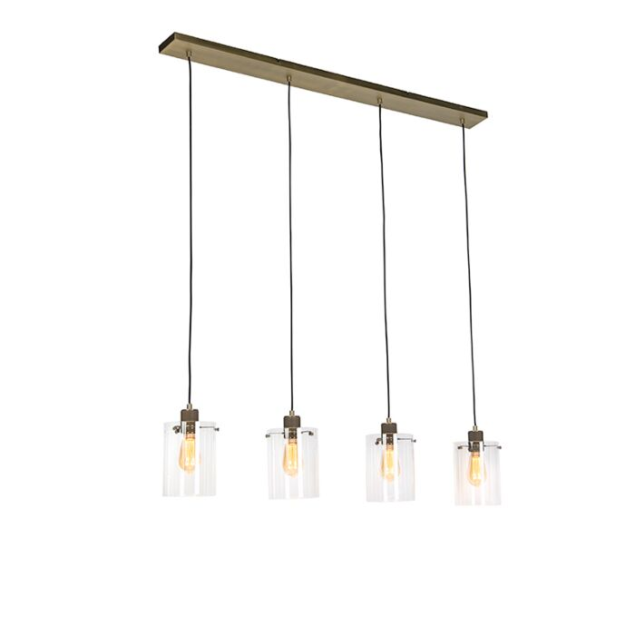 Lámpara colgante nórdica bronce cristal 4 luces DOME