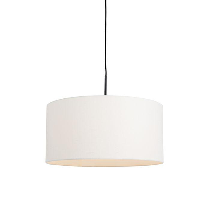 Lámpara-colgante-negra-con-pantalla-blanco-roto-50cm---COMBI-1