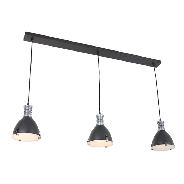 Lámpara-colgante-industrial-negra-3-luces---RICK