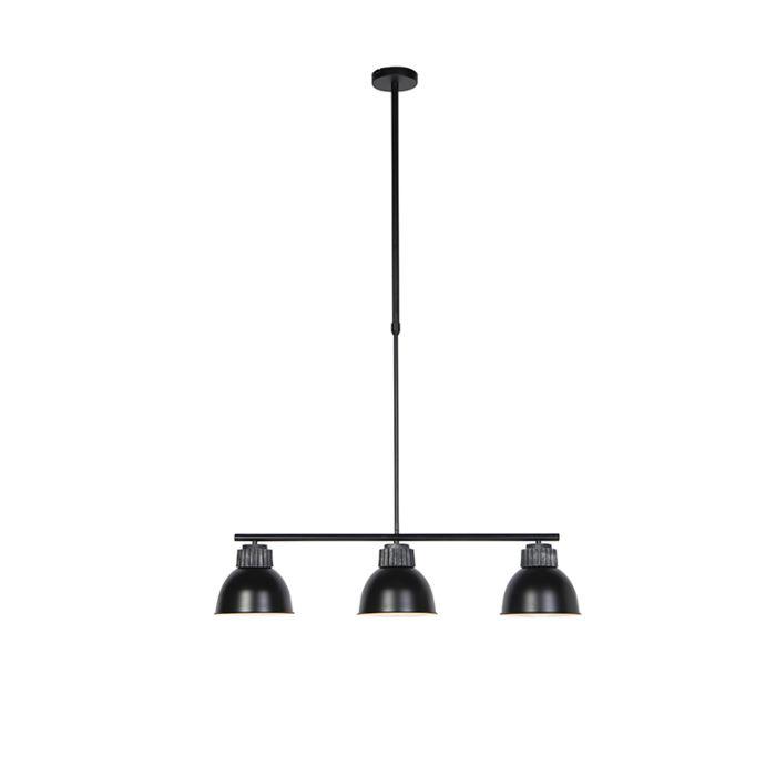 Lámpara-colgante-industrial-negra/plata-3-luces---FRODO