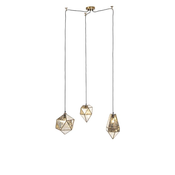 Lámpara-colgante-vintage-de-bronce-con-vidrio-antiguo-3-luces---Scone