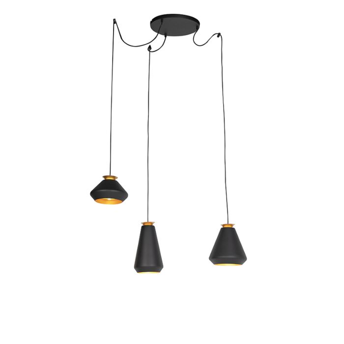Lámpara-colgante-moderna-negra-oro-3-luces---MIA