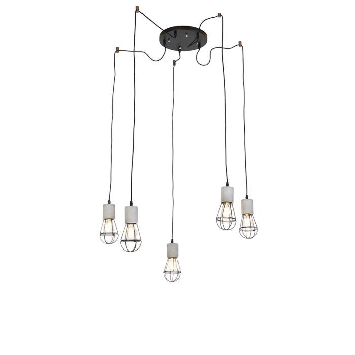 Lámpara-colgante-industrial-de-5-luces-de-hormigón-con-negro---Edison.
