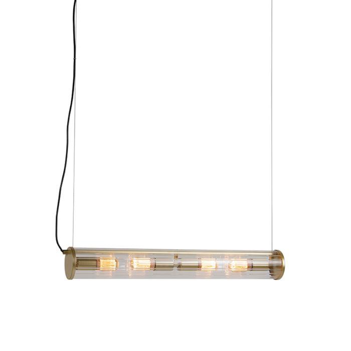 Lámpara-colgante-de-latón-de-4-luces-con-cristal-acanalado---Costilla