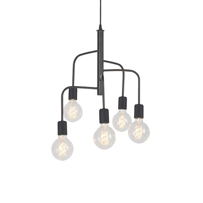 Lámpara-colgante-moderna-negra-5-luces---FACILE