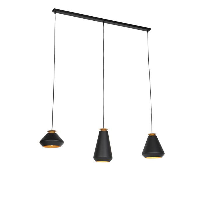 Lámpara-colgante-moderna-3-luces-negro-con-viga-dorada---Mia