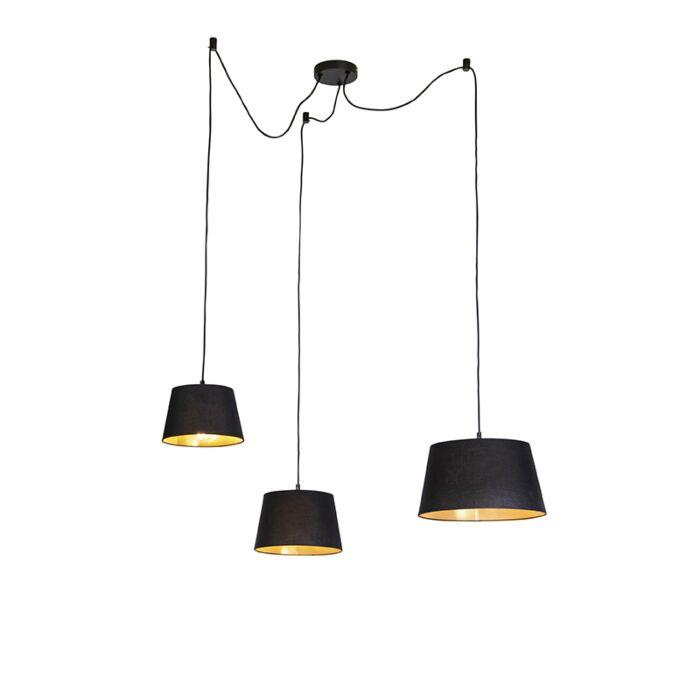 Lámpara-colgante-con-3-pantallas-de-algodón-negro-con-oro---Cava