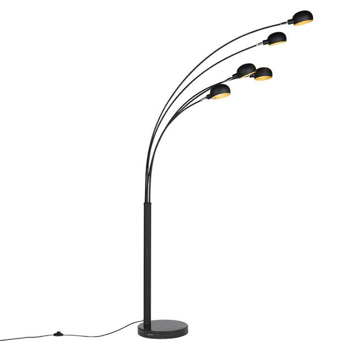 Lámpara-de-pie-diseño-negro-5-luces--SIXTIES-MARMO