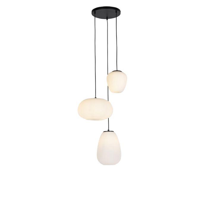 Lámpara-colgante-de-diseño-negra-de-3-luces-con-cristal-opal---Hero