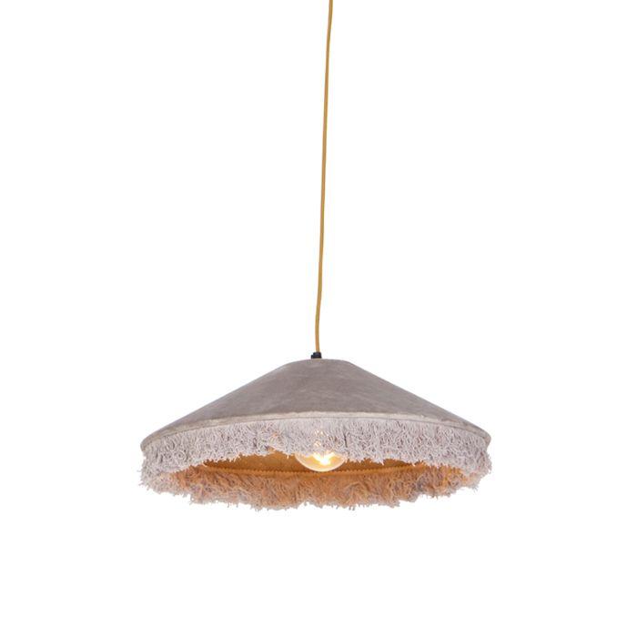 Lámpara-colgante-retro-terciopelo-beige-flecos---FRILLS