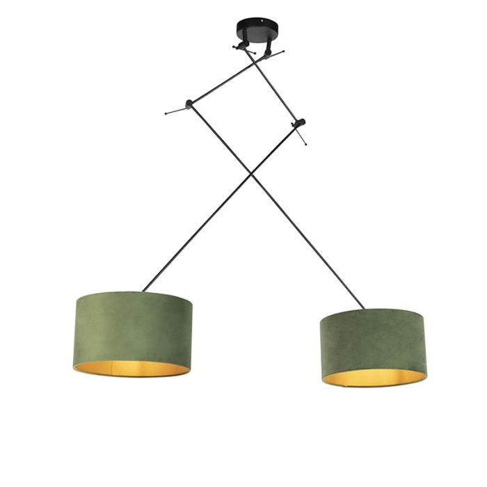 Lámpara-colgante-con-pantallas-de-terciopelo-verde-con-oro-35-cm---Blitz-II-negro