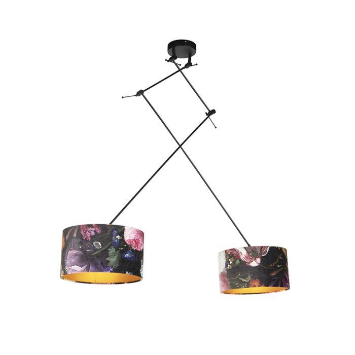 Lámpara-colgante-con-tonos-de-terciopelo-de-flores-con-oro-35-cm---Blitz-II-negro