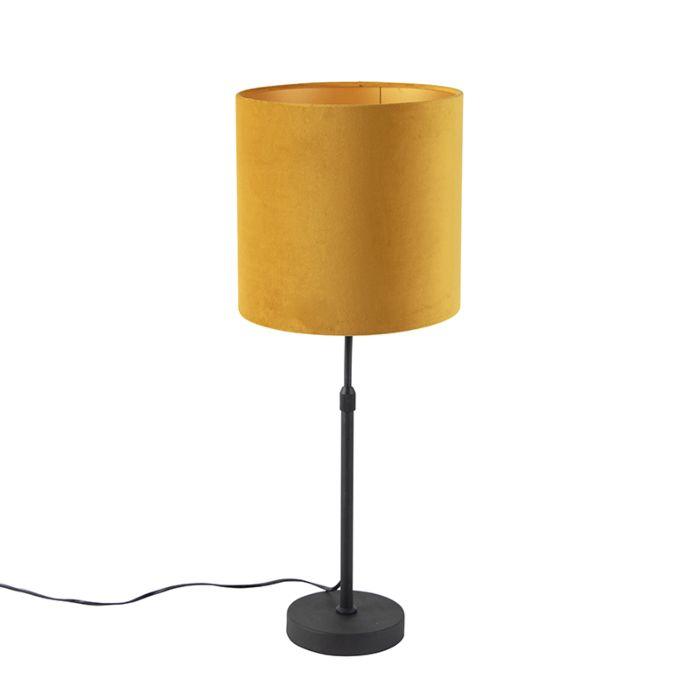 Sobremesa-negro-con-pantalla-de-terciopelo-amarillo-con-oro-25-cm---Parte