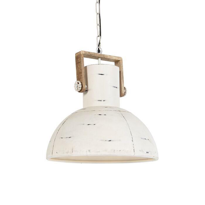 Lámpara-colgante-industrial-blanca-con-madera-de-mango---Mangos