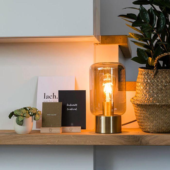 Lámpara-de-mesa-de-diseño-de-latón-con-vidrio-ahumado---Bliss-Cute