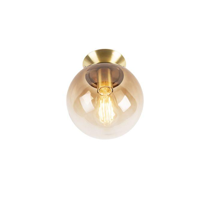 Lámpara-de-techo-art-deco-de-latón-con-vidrio-ahumado---Pallon