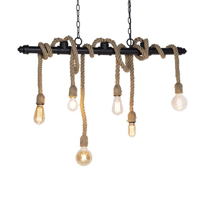 Lámpara-colgante-industrial-negra-cuerdas-6-luces---PLURA