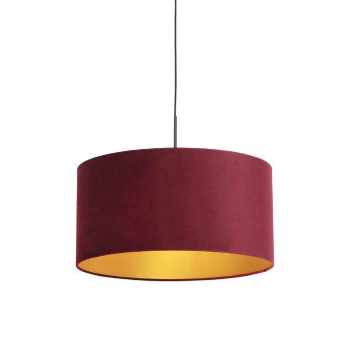 Lámpara-colgante-pantalla-terciopelo-rojo-oro-50cm--COMBI