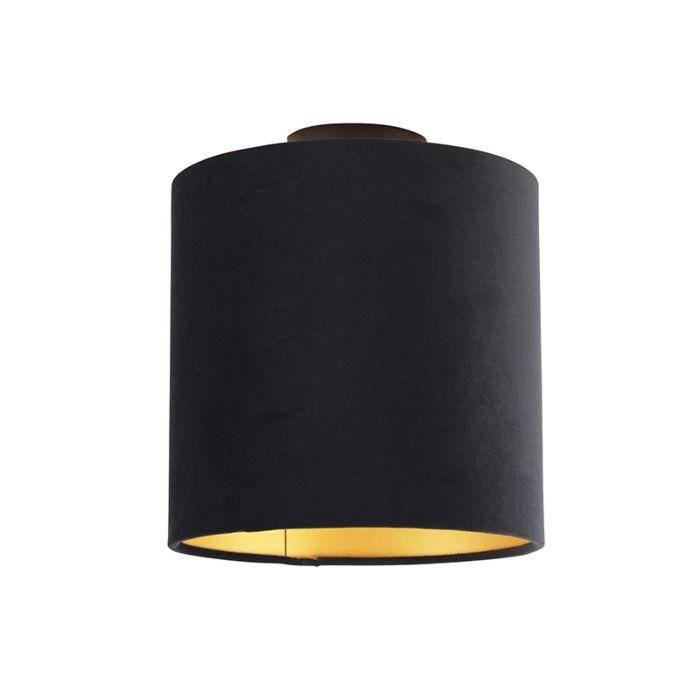 Plafón-negro-pantalla-terciopelo-negra-oro-20cm---COMBI