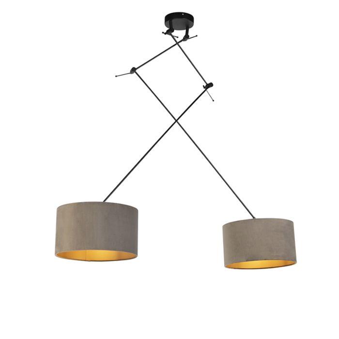 Lámpara-colgante-con-pantallas-de-terciopelo-gris-topo-con-oro-35-cm---Blitz-II-negro