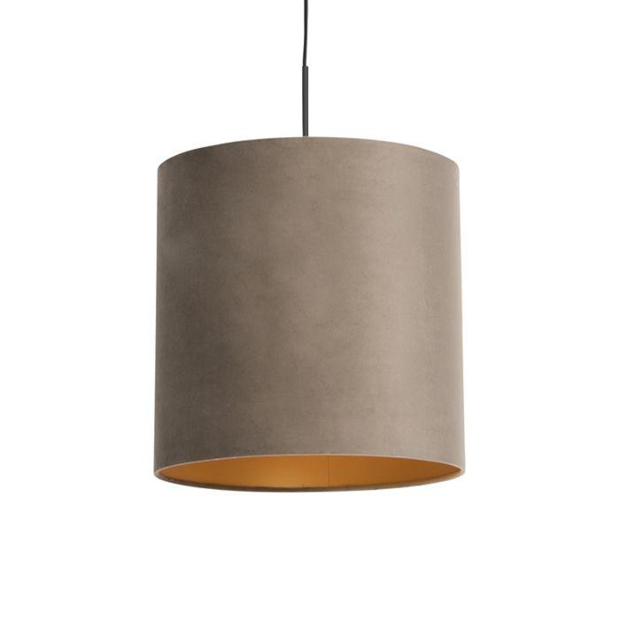 Lámpara-colgante-pantalla-terciopelo-taupe-oro-40cm---COMBI