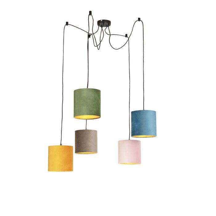 Lámpara-colgante-con-5-cortinas-de-terciopelo-de-colores-20-cm---Cava