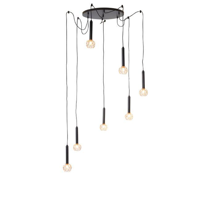 Lámpara-colgante-negra-con-cobre-7-luces---Malla