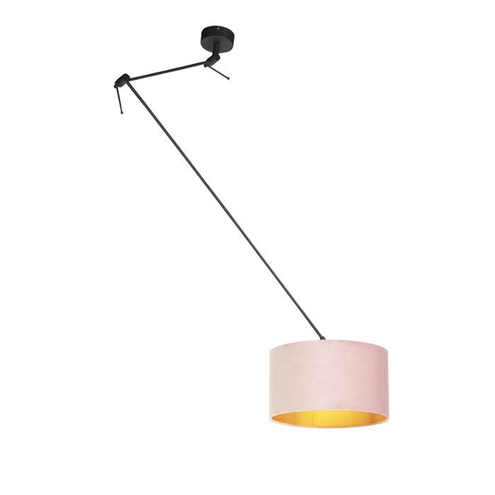 Lámpara-colgante-con-pantalla-de-terciopelo-rosa-antiguo-con-oro-35-cm---Blitz-I-negro