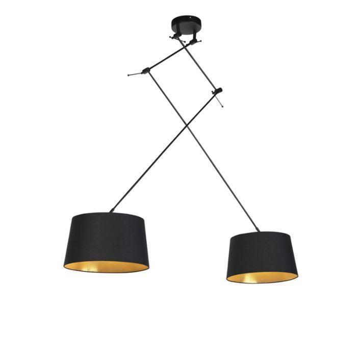 Lámpara-colgante-con-pantallas-de-algodón-negro-con-oro-35-cm---Blitz-II-negro
