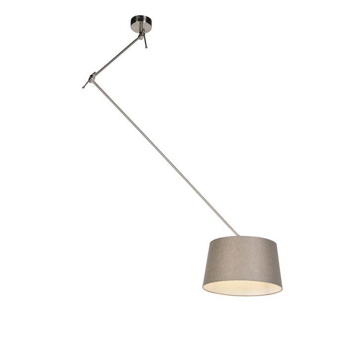 Lámpara-colgante-con-pantalla-de-lino-gris-topo-35-cm---Blitz-I-acero