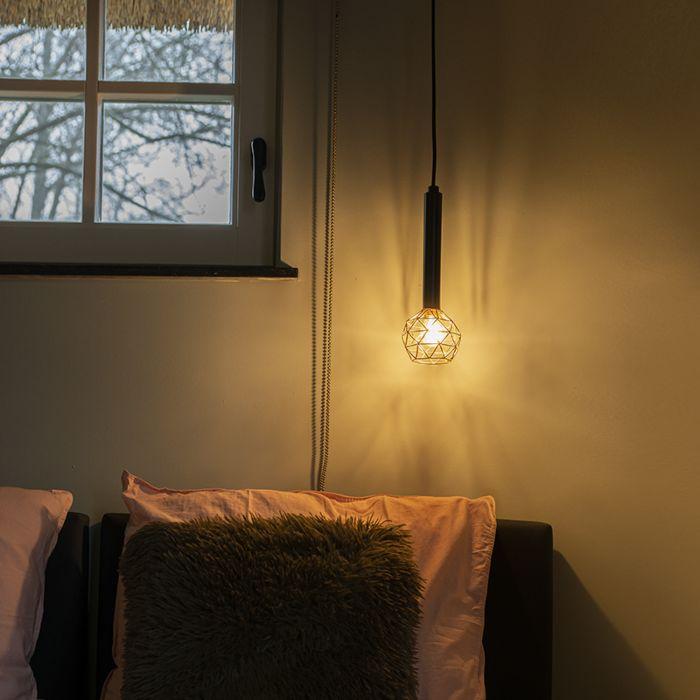 Lámpara-colgante-negra-con-cobre---Malla