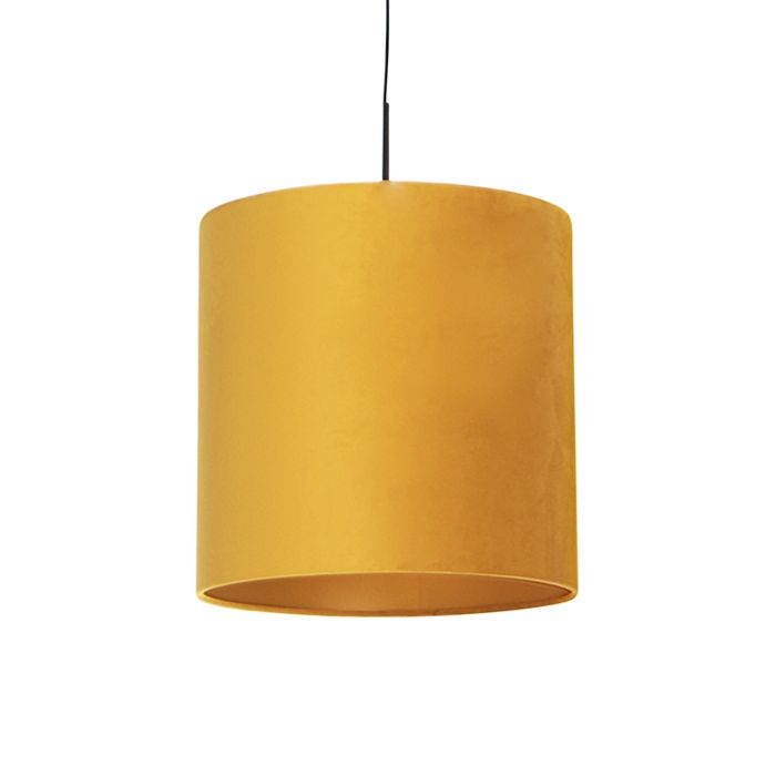 Lámpara-colgante-pantalla-terciopelo-amarillo-oro-40cm-COMBI