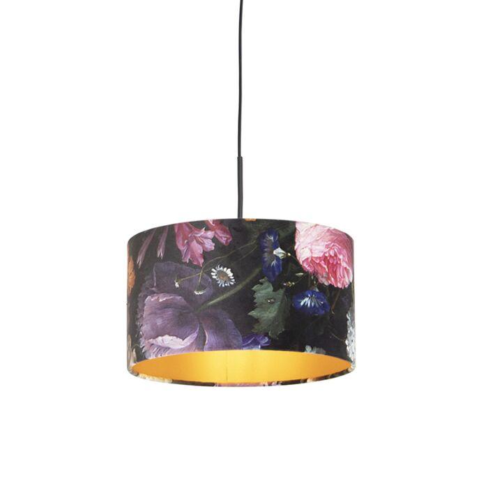 Lámpara-colgante-con-flores-de-terciopelo-dorado-35-cm---Combi