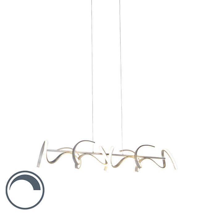 Lámpara-colgante-de-diseño-regulable-en-plata-incl.-LED---Krisscross