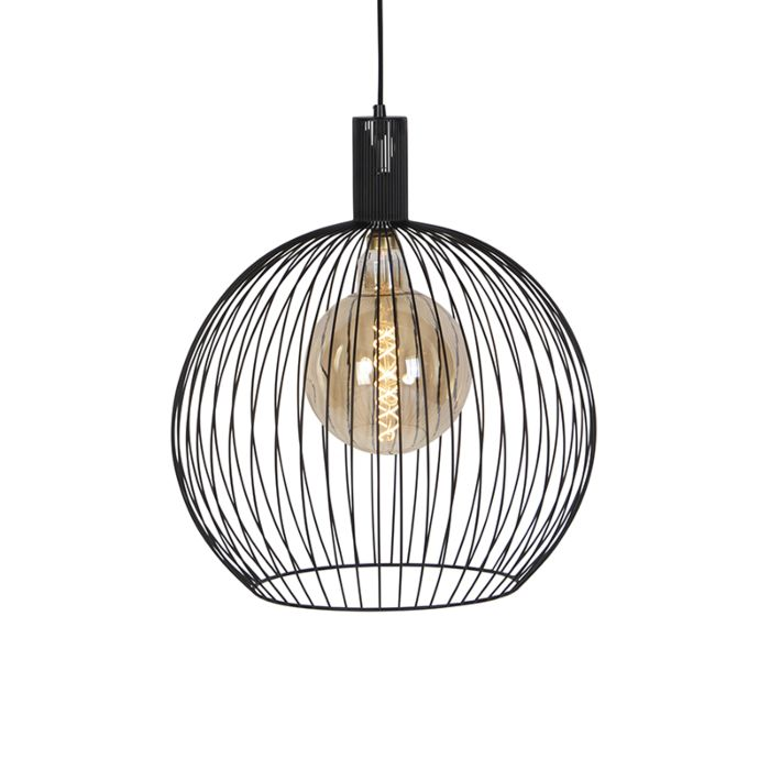 Lámpara-colgante-redonda-moderna-negra-50-cm---Alambre
