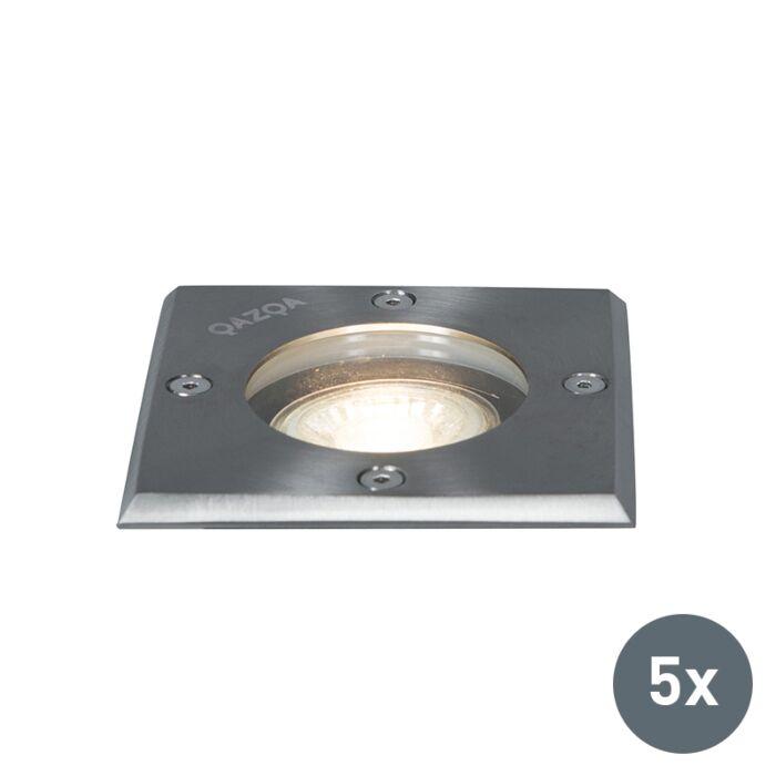 Set-5-focos-de-tierra-acero-IP65---BASIC-Square
