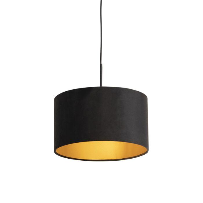 Lámpara-colgante-pantalla-terciopelo-negra-oro-35cm--COMBI