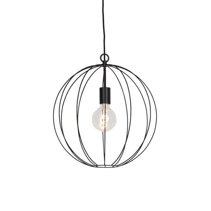 Lámpara-colgante-redonda-de-diseño-negro-40-cm---Pelotas