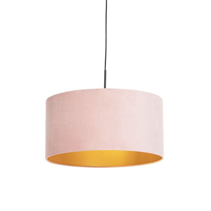 Lámpara-colgante-pantalla-terciopelo-rosa-oro-50cm--COMBI