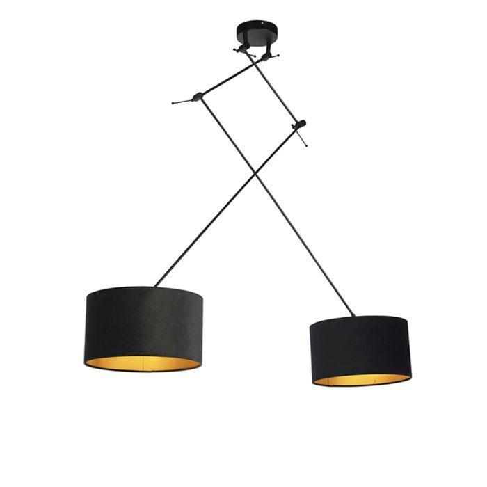 Lámpara-colgante-con-pantallas-de-terciopelo-negro-con-oro-35-cm---Blitz-II-negro