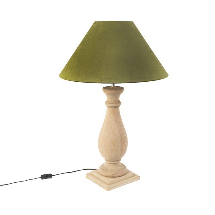 Lámpara-de-mesa-rústica-pantalla-terciopelo-55-musgo---BURDOCK